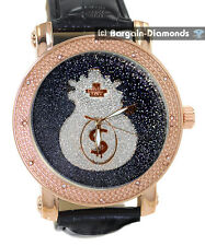 mens diamond rose gold watch black dial silver money bag leather warranty master