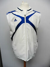 ADIDAS CLIMA 365 BLUE & WHITE SLEEVELESS JACKET HOOD SIZE M 46'' CHEST MAY6/W