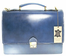 Made in Italy bag handbag man briefcase leather laptop case work blue 7003 US