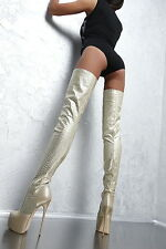 1969 ITALY HOHE OVERKNEE LANG STIEFEL D39 GOLD Plateau Stretch Boots High Heels