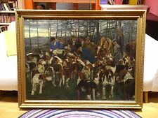 Fine Huge Early 20th Century Hunting Party Hounds Dogs Antique Oil Painitng