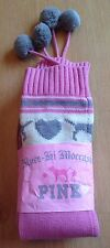 Victoria's Secret Knee High Moccasin Pink Lambs wool Slippers - Medium - BNWT