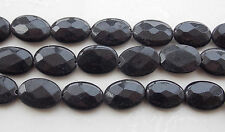 AAA 13x18mm Black Agate Onyx Faceted Oval Gem Loose Beads 15'' T-74