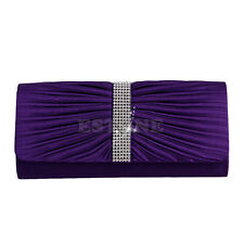 Ladies Satin Pleated Evening Hand Bag Party Wedding Prom Envelope Purse Clutch