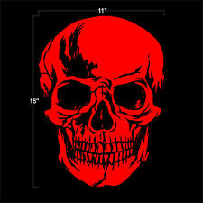 """SKULL Head Large 15"""" x 11"""" Highly Detailed RED Vinly Decal Sticker"""
