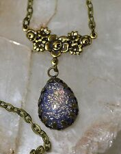 Purple  Fire Glass Opal Antique Gold Victorian Rose Pendant Necklace