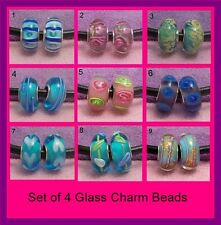 4 x 925 Sterling Silver Single Core Murano Glass Charm Beads, Fit Snake Bracelet