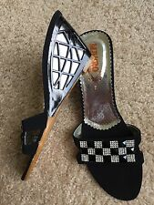 New!!! Women Wedges Shoes Black Stone Studded Size 7 Designed Wedges