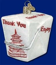 CHINESE TAKE-OUT OLD WORLD CHRISTMAS GLASS FOOD BOX ORNAMENT W/PAGODA 32111