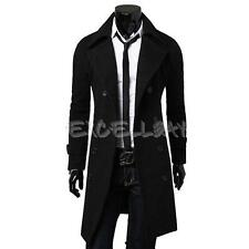 Men's Slim Stylish Trench Coat Winter Long Jacket Double Breasted Overcoat New