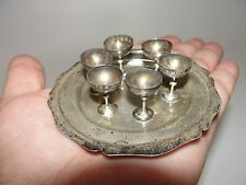 ANTIQUE MINIATURE DOLLHOUSE STERLING SILVER 6 SHERBET COUPE GOBLET CHALICE TRAY