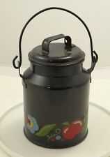 Black Heavy Tin Toleware Canister w Removable Top Tomato Vegetables Kitchen