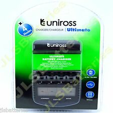 UNIROSS fast Mains Battery Charger ultimate AA AAA multi-function tester LCD 1hr