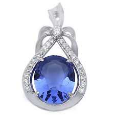 "Beautiful Tanzanite & Cz .925 Sterling Silver Pendant .75"" long"