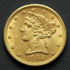 Piece or 5 dollars USA Liberty 1904 Liberty Half Eagle gold coin