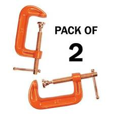 """PACK OF 2 CAST IRON 4"""" 100 MM G CLAMPS WOOD WORKING WELDING CRAMPS COPPER PLATED"""