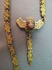 Victorian Antique Bookchain Bible Marker Necklace Carved Cameo Gold Plated