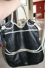Large Anna Corinna Black and Gold Leather Tote
