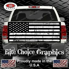 Black and White Distressed Flag Truck Tailgate Wrap Vinyl Graphic Decal Sticker