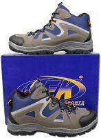 Mens New Blue Grey Lace Up Hiking Trail Walking Boot Size 6 7 8 9 10 11 12
