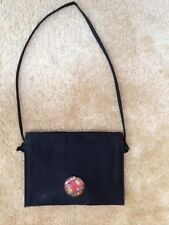 BLACK SATIN MARKAY VINTAGE EVENING PURSE WOMEN'S HANDBAG W/ FLORAL CLASP '60S