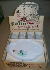 NOS Vtg Federal Glass Co. PATIO Snack Set 8 Pcs Dishes & Cups in BOX Retro NEW