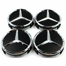 4x BLACK and CHROME MERCEDES ALLOY WHEEL CENTRE CAPS 75mm CLK SLK AMG