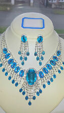 Turquoise Diamante Rhinestone crystal Necklace & earrings set wedding prom