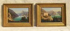 Hubert Sattler (Austrian 1817 –1904) Axenstein Switzerland Pair of Oil Paintings
