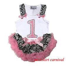 Baby Girls 1st Birthday Tank Top Light Pink Demask Pettiskirt Party Dress 3-12M
