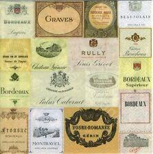6 Servietten Napkins Degustation - Etiketten Wein Weinsorten Bordeaux - kü139