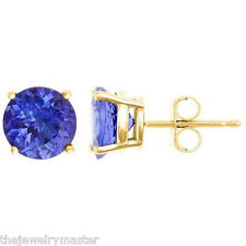 YELLOW GOLD TANZANITE STUD EARRINGS 8mm BRILLIANT ROUND CUT 14KT AAA QUALITY