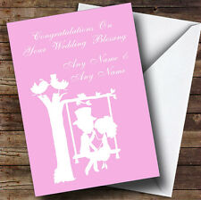 Pastel Pink Couple Eon Swing Personalised Wedding Blessing Greetings Card