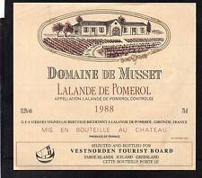 LALANDE POMEROL ETIQUET DOMAINE DE MUSSET1988 EXPORT ILES FEROE GROENLAND§11/03§