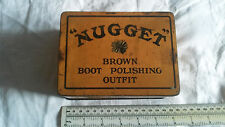 NUGGET BROWN BOOT SHOE POLISHING OUTFIT EMPTY RETRO VINTAGE TIN