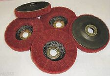 "RDGTOOLS 5 X 4""  RED METAL SCOTCH BRITE FLAP DISC POLISHING FINISHING ABRASIVE"