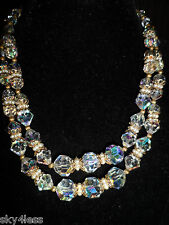 Vintage Antique Layered Necklace Rainbow Crystal Pearl Glass Wedding Bridal