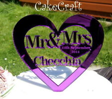 Mirrored Heart Acrylic Personalised Wedding cake toppers decorations  monogram