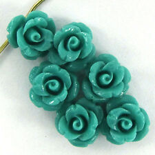 6 10mm synthetic coral carved rose flower pendant bead green