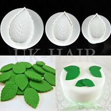 3pcs Fondant Cake Icing Decorating Rose Leaf Sugarcraft Plunger Cutter Mold Tool