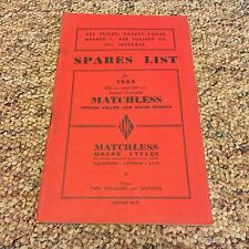 1953 AMC MATCHLESS MOTORCYCLES SPARES LIST BOOKLET