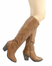 New Dollhouse Attention Cowgirl western Cowboy Chunky Heels Knee High Boots