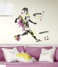 New Giant WOMEN'S SOCCER CHAMPION WALL DECALS Girls Sports Stickers Decor