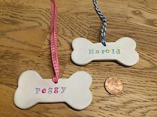 Cute Handmade Clay Personalised Dog Bone Pet Decoration/gift Tags