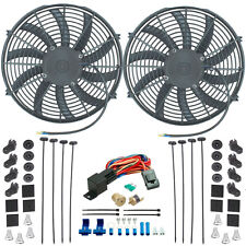 "DUAL 14"" INCH ELECTRIC RADIATOR COOLING FANS & 3/8"" NPT PROBE FAN THERMOSTAT KIT"