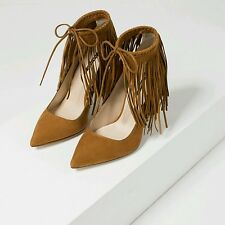 ZARA brown faux suede high heel shoes with fringes uk size 4 eur37