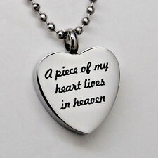 A Piece of my Heart Lives in Heaven Cremation Jewelry Heart Urn Necklace Urns