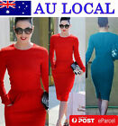 Elegant Long Sleeve Women's Formal Wiggle Pencil Dress Pockets AU Local Postage