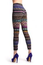 Beige et bleu et violet et marron sur Noir Aztèque Jacquard Knit print (l000494)