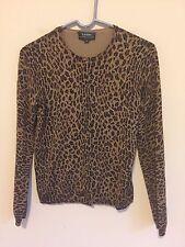 9784)  LAUREN RALPH LAUREN sz S brown black animal print cardigan sweater fitted